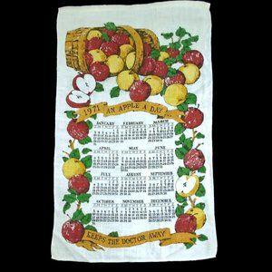Vintage Linen Calendar 1971 An Apple a Day Apples